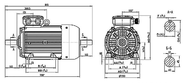Электродвигатель 7AVER на лапах