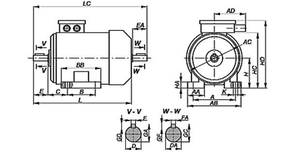 Трехфазный электродвигатель на лапах, габаритные и присоединительные размеры