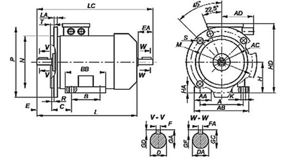 Трехфазный электродвигатель 4 кВт 750 об/мин, размеры, габариты