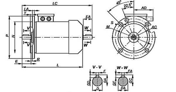 Трехфазный электродвигатель фланцевого крепления, присоединительные размеры, габариты