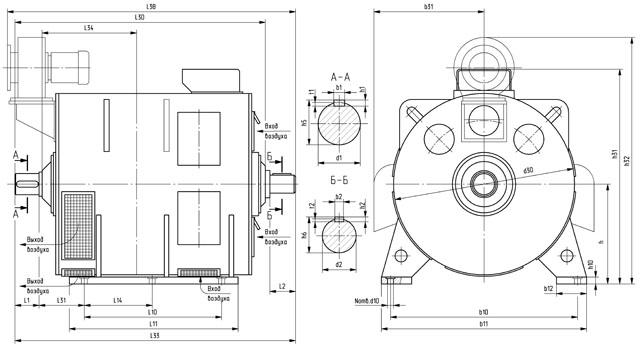 Генераторы постоянного тока 4ГПЭМ 300-600 монтажные размеры, габариты, вес кг