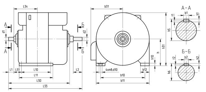 Генераторы постоянного тока 4ГПЭМ 55-170 монтажные размеры, габариты