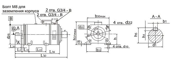 Электродвигатели 4ПБМ132M крепление фланец
