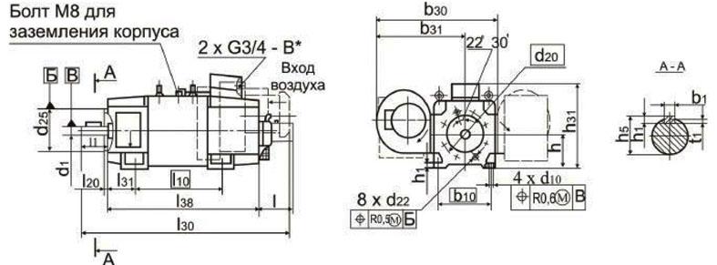 Габаритные размеры и вес электродвигателей 4ПФ112, 4ПФ132, 4ПФ160, 4ПФ180
