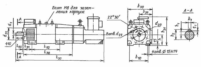Электродвигатели 4ПФ112, 4ПФ132, 4ПФ160, 4ПФ180 с вентилятором сзади коллектора
