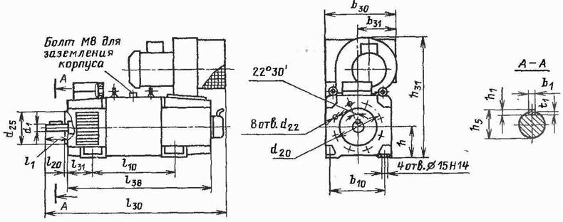 Электродвигатели 4ПФ112, 4ПФ132, 4ПФ160, 4ПФ180 с вентилятором сверху