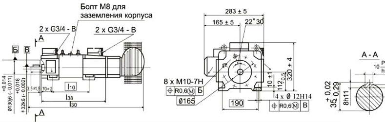 Электродвигатели 4ПФ112, 4ПФ132, 4ПФ160, 4ПФ180 с охлаждением сзади коллектора