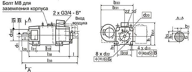 Размеры электродвигателей 4ПФ рисунок 1