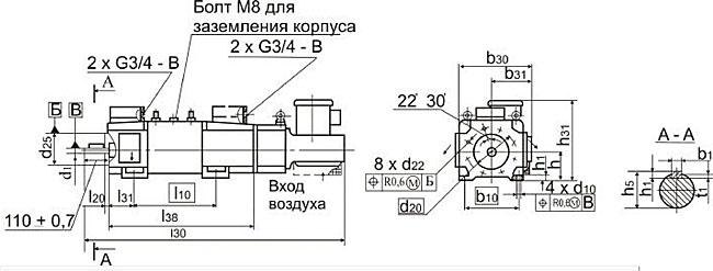 Размеры электродвигателей 4ПФ рисунок 2