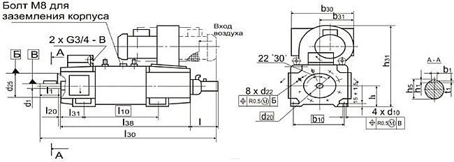 Размеры электродвигателей 4ПФ рисунок 3