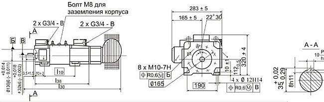 Размеры электродвигателей 4ПФ рисунок 4