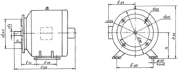 Размеры электродвигателей ПБСТ и ДП