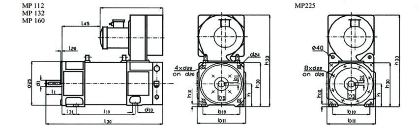 Электродвигатели МР112, MP132, МР160 габариты, размеры и вес