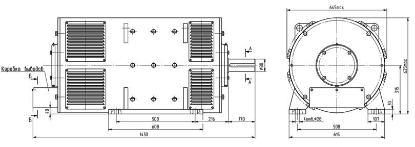 Монтажные и габаритные размеры генераторов 4ПНГУК315М и П111М