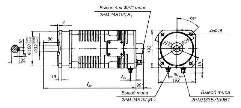 Монтажные и присоединительные размеры электродвигателей МТА, 2МТА, 3МТА, 5МТС