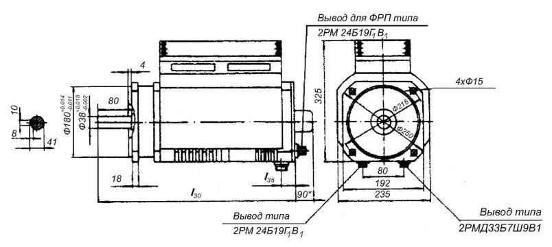 Габариты, размеры, чертеж электродвигателя МТА, 5МТС-Р, 3МТВ