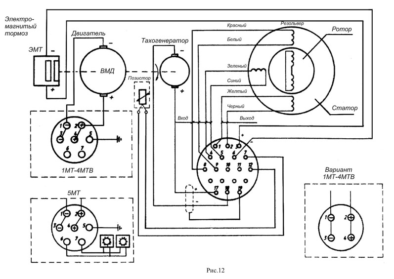 Схема подключения, монтажа резольвера к двигателю