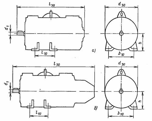 Электродвигатель ПБСТ размеры на лапах