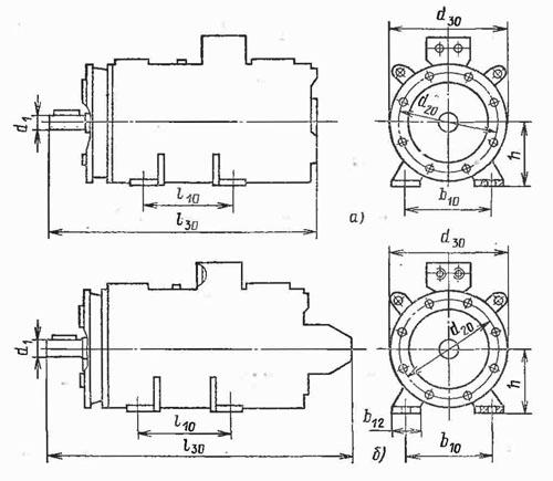 Электродвигатель ПБСТ размеры комби лапы фланец