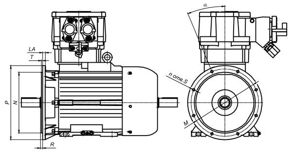 Электродвигатель ВРА132 комбинированного исполнения (лапы+фланец)