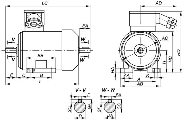 Взрывозащищенный электродвигатель ВА на лапах IM1081