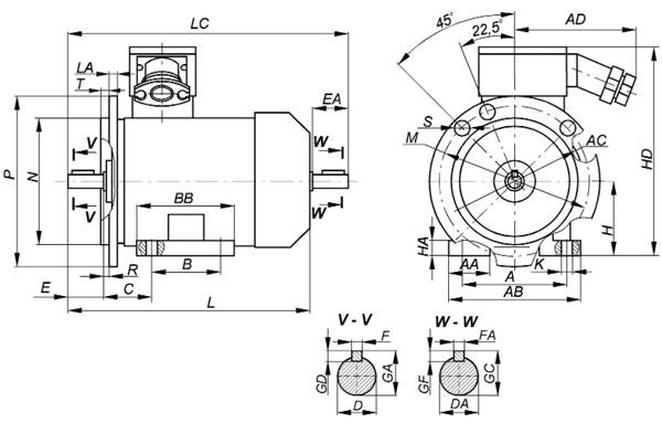 Взрывозащищенный электродвигатель ВА исполнение лапы+фланец