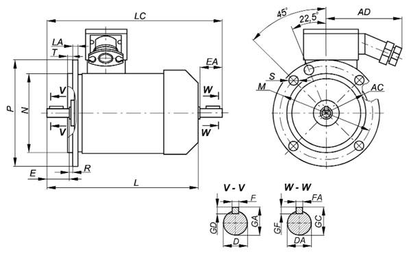 Взрывозащищенный электродвигатель ВА132С8 фланец