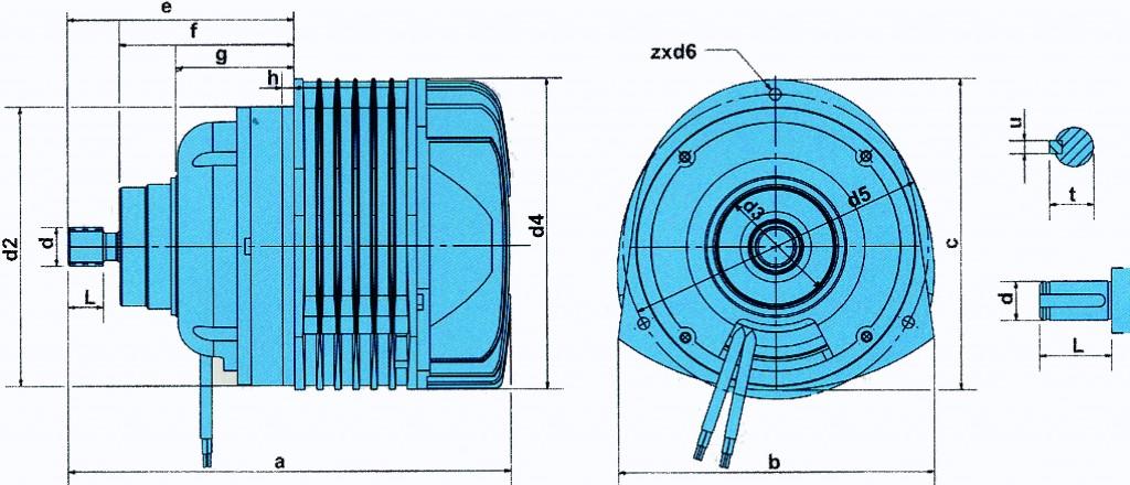 Размеры электродвигателей KG-Al производства Болгарии