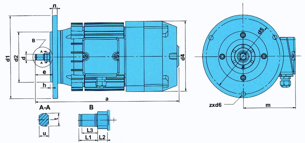 Размеры двигателей ККТ производства Болгарии для тельферов и кранбалок