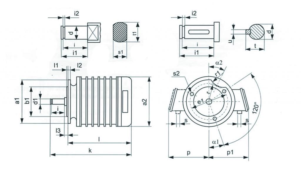 Размеры электродвигателей КК производства Болгарии