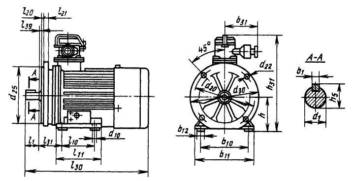 Размеры электродвигателей ВАО исполнение лапы+фланец
