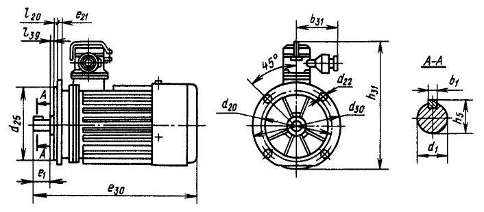 Размеры электродвигателей ВАО фланцевого исполнения