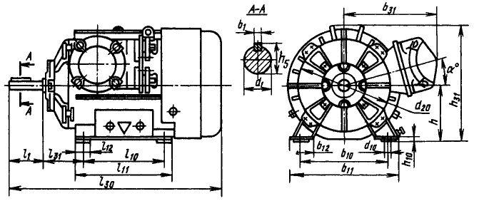Размеры электродвигателей ВАМП