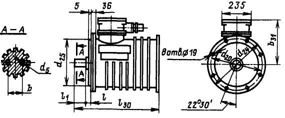 Размеры электродвигателей ВАМП72 и ВАМП82