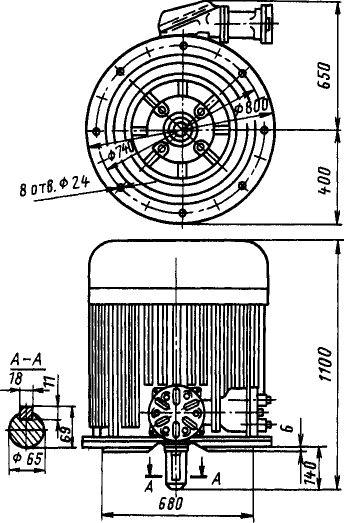 Размеры электродвигателя ВАО2-315-6/8