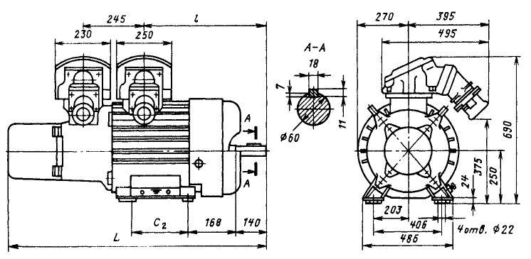 Размеры электродвигателей ВАОк