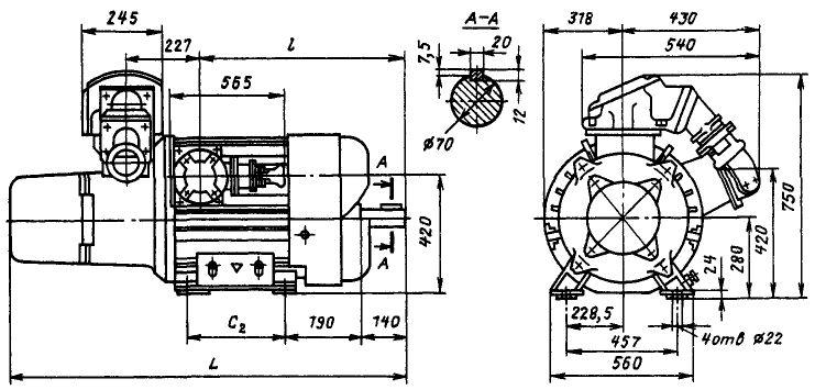 Размеры электродвигателей ВАОкр