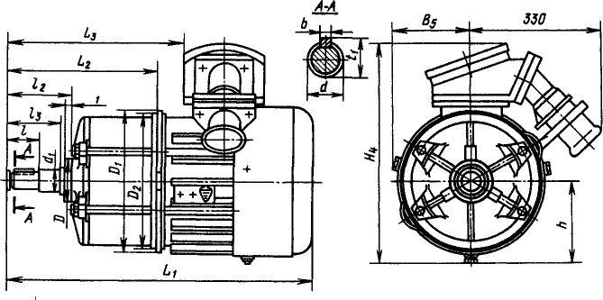 Зазмеры электродвигателей ВАОл и ВАОт