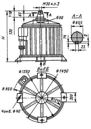 Электродвигатели ВАСО7 габаритный чертеж