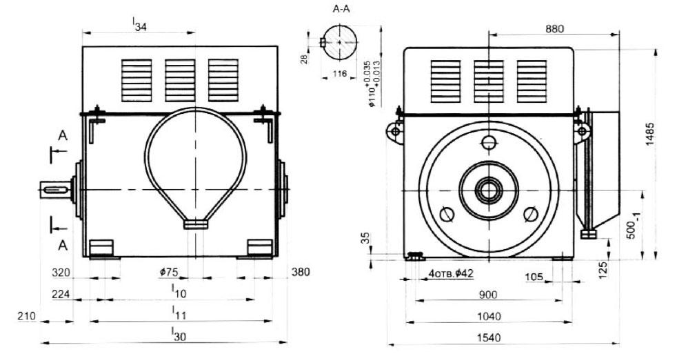Размеры электродвигателей А4 10 кВ