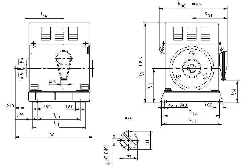 Размеры электродвигателей А4 12 и 13 габарита