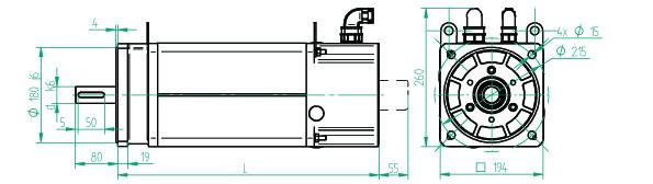 Размеры электродвигателей D4MTA, D4MTB, D5MT