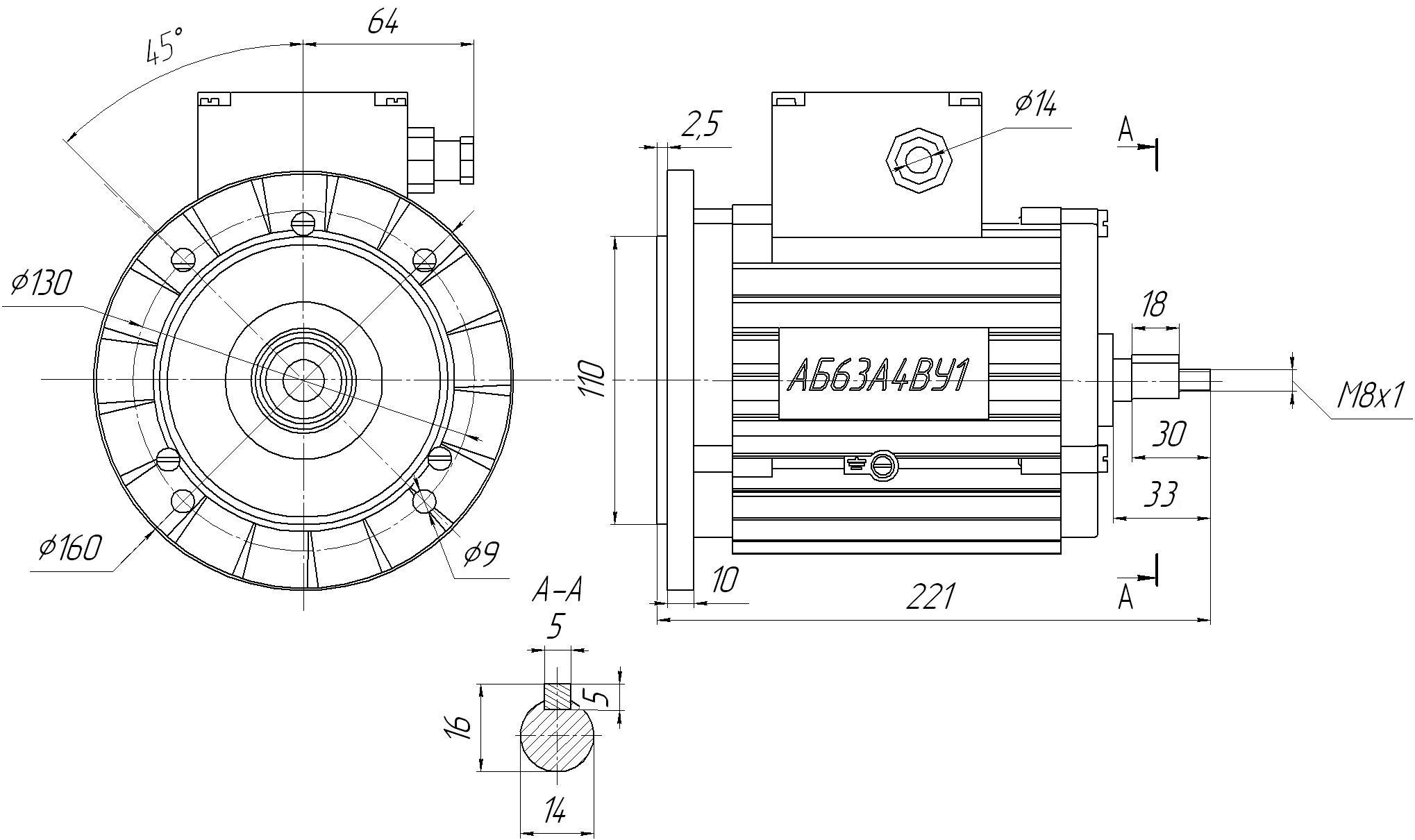Электродвигатели АБ63А4ВУ1 размеры