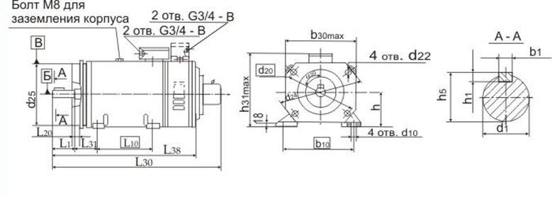 Электродвигатели 4ПНМ чертёж