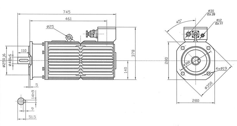 размеры электродвигателей 47МВН