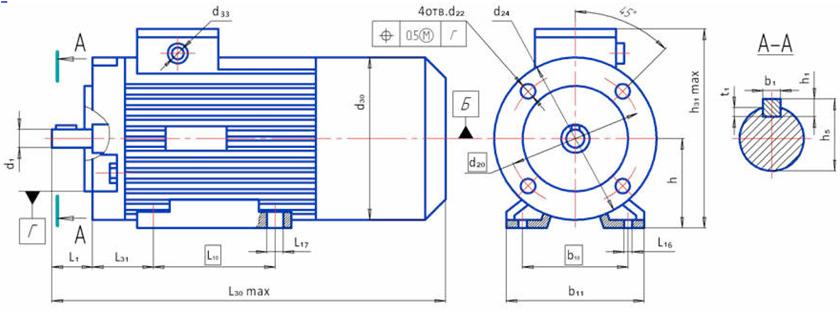 Электродвигатели 4ПБ 4ПО размеры с фланцем