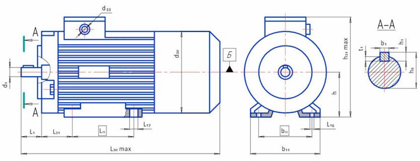 Электродвигатели 4ПБ 4ПО размеры на лапах